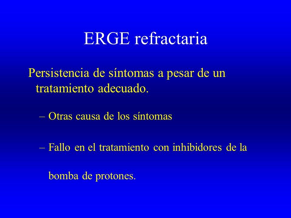 ERGE refractaria Persistencia de síntomas a pesar de un tratamiento adecuado. Otras causa de los síntomas.