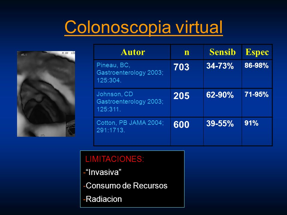 Colonoscopia virtual Autor n Sensib Espec 703 205 600 34-73% 62-90%