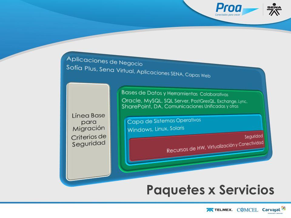 Paquetes x Servicios Aplicaciones de Negocio