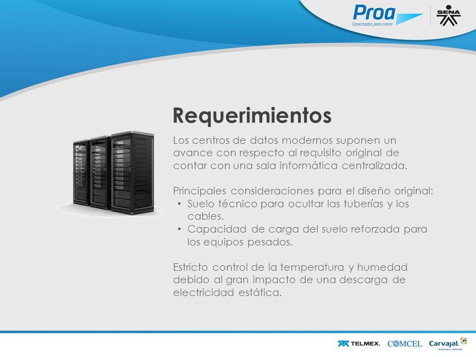 Requerimientos Los centros de datos modernos suponen un avance con respecto al requisito original de contar con una sala informática centralizada.