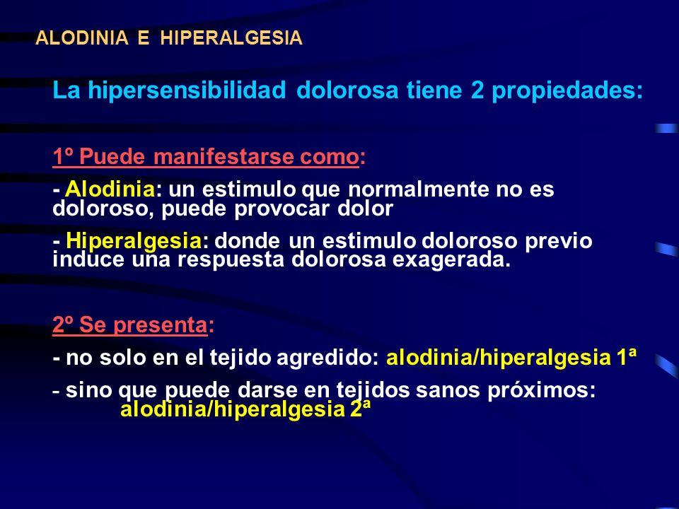 La hipersensibilidad dolorosa tiene 2 propiedades:
