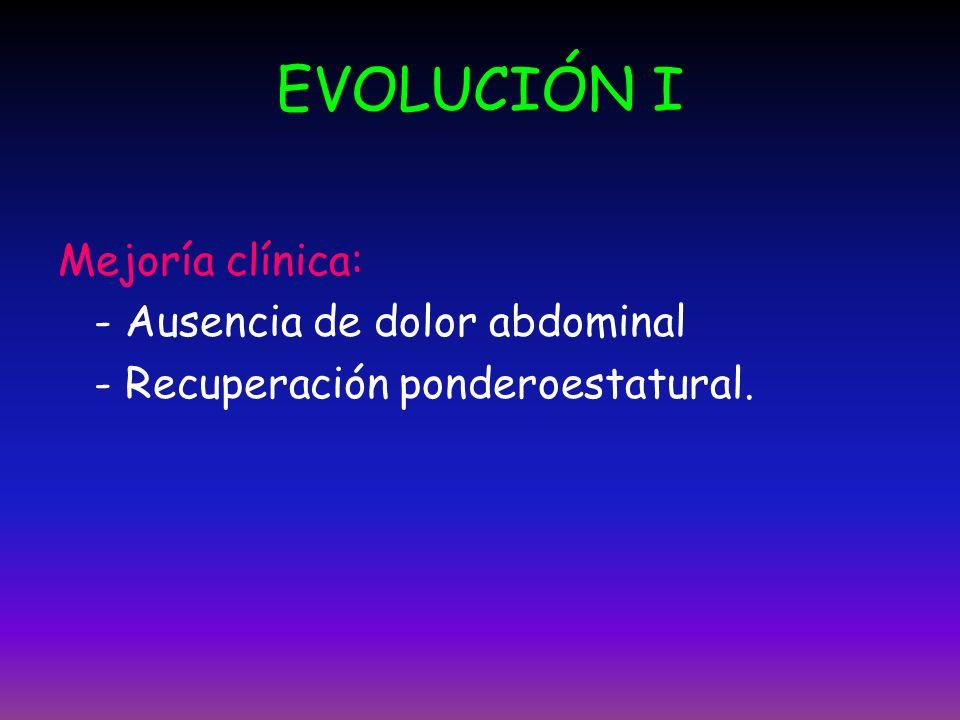 EVOLUCIÓN I Mejoría clínica: - Ausencia de dolor abdominal