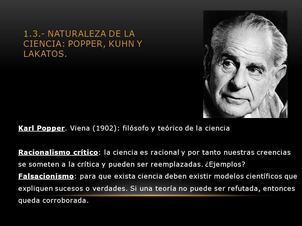 1.3.- Naturaleza de la Ciencia: Popper, Kuhn y Lakatos.