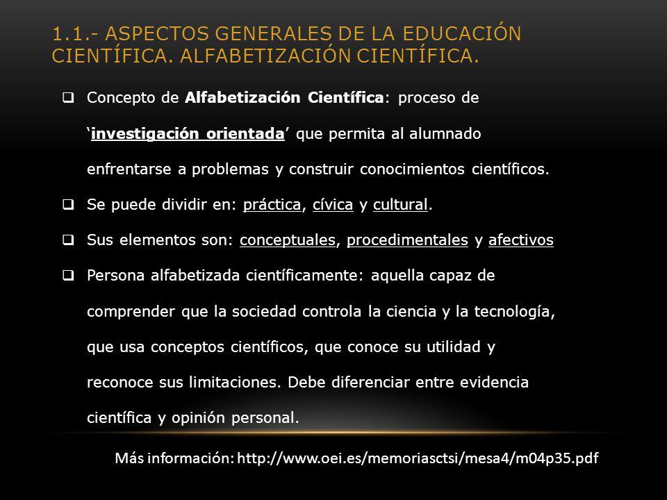 1. 1. - Aspectos generales de la educación científica