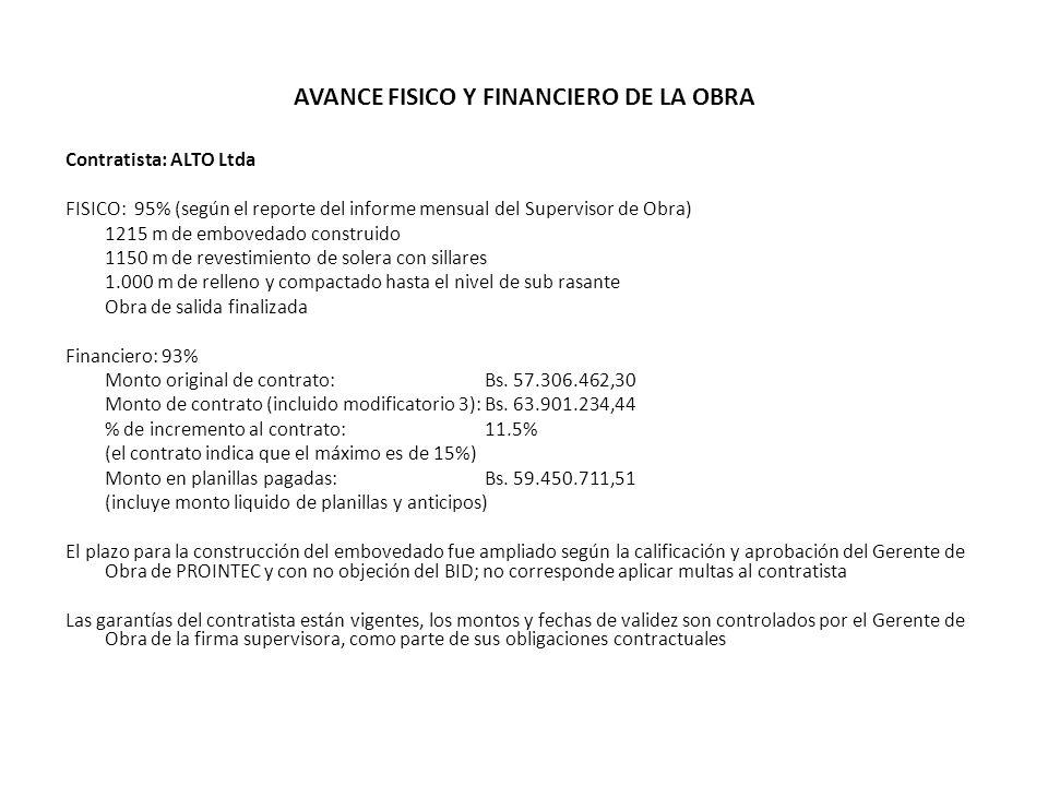 AVANCE FISICO Y FINANCIERO DE LA OBRA
