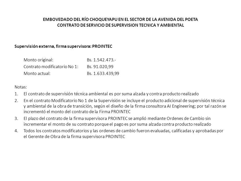 EMBOVEDADO DEL RÍO CHOQUEYAPU EN EL SECTOR DE LA AVENIDA DEL POETA CONTRATO DE SERVICIO DE SUPERVISION TECNICA Y AMBIENTAL