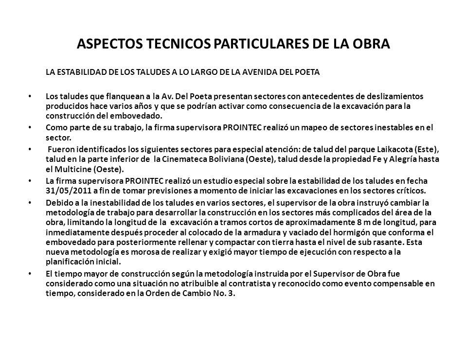 ASPECTOS TECNICOS PARTICULARES DE LA OBRA