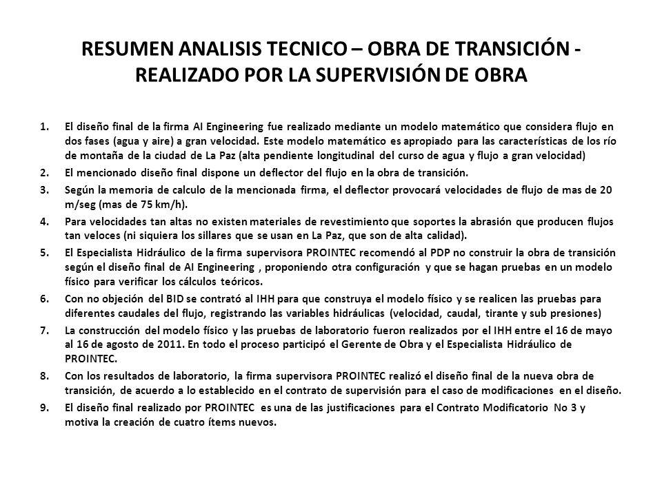 RESUMEN ANALISIS TECNICO – OBRA DE TRANSICIÓN -REALIZADO POR LA SUPERVISIÓN DE OBRA