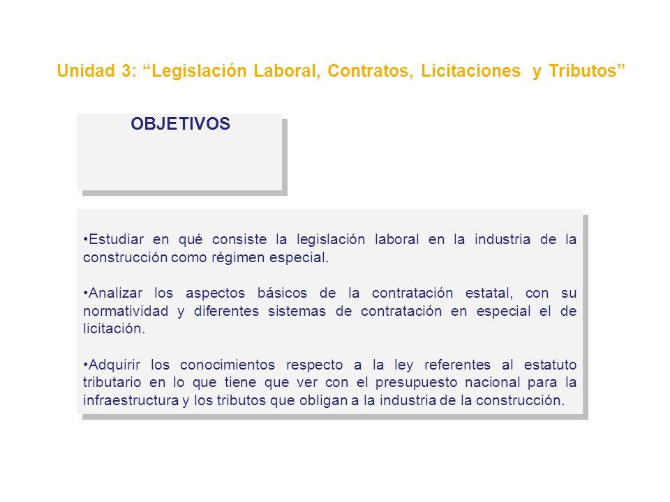 Unidad 3: Legislación Laboral, Contratos, Licitaciones y Tributos