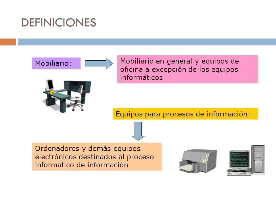 DEFINICIONESMobiliario en general y equipos de oficina a excepción de los equipos informáticos. Mobiliario: