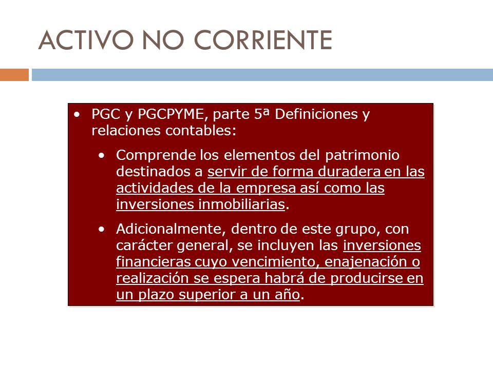 ACTIVO NO CORRIENTEPGC y PGCPYME, parte 5ª Definiciones y relaciones contables: