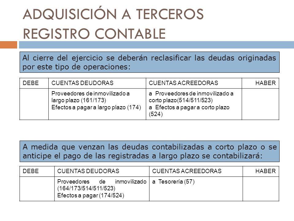 ADQUISICIÓN A TERCEROS REGISTRO CONTABLE