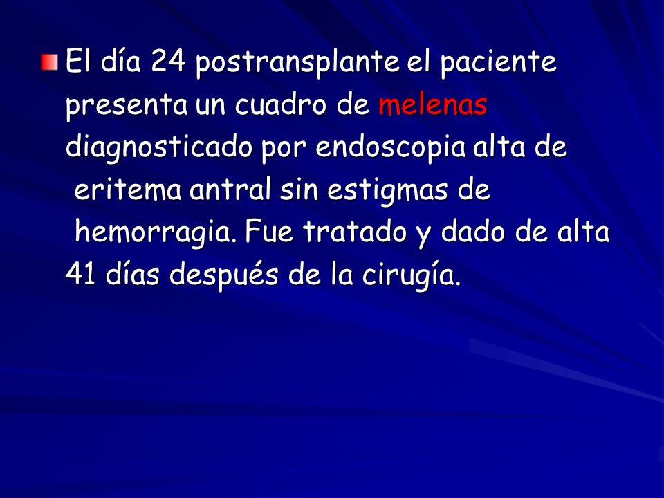 El día 24 postransplante el paciente