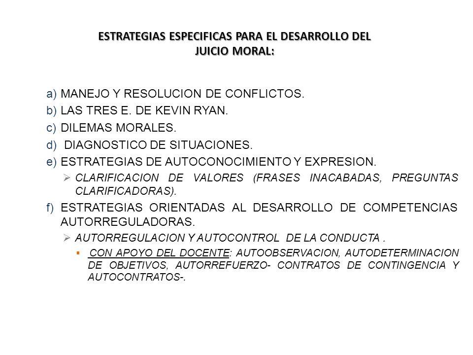 ESTRATEGIAS ESPECIFICAS PARA EL DESARROLLO DEL