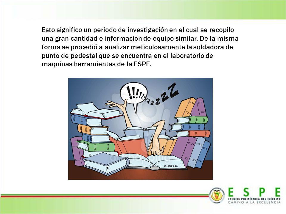 Esto significo un periodo de investigación en el cual se recopilo una gran cantidad e información de equipo similar.