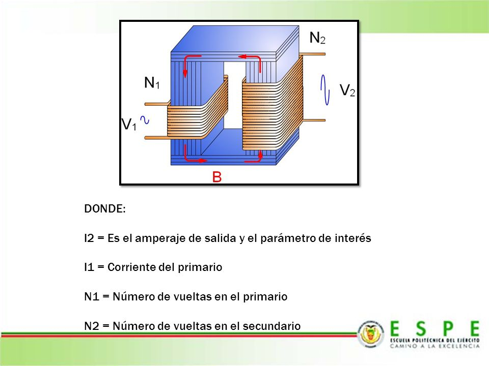 DONDE: I2 = Es el amperaje de salida y el parámetro de interés. I1 = Corriente del primario. N1 = Número de vueltas en el primario.