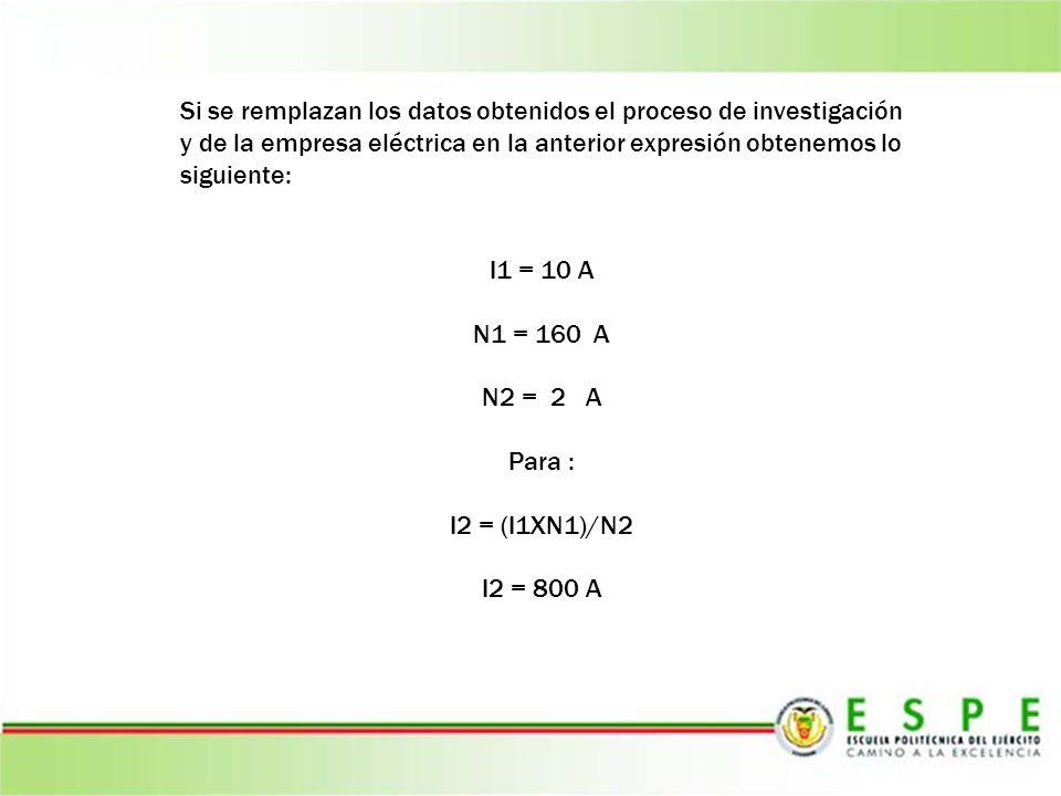 Si se remplazan los datos obtenidos el proceso de investigación y de la empresa eléctrica en la anterior expresión obtenemos lo siguiente: