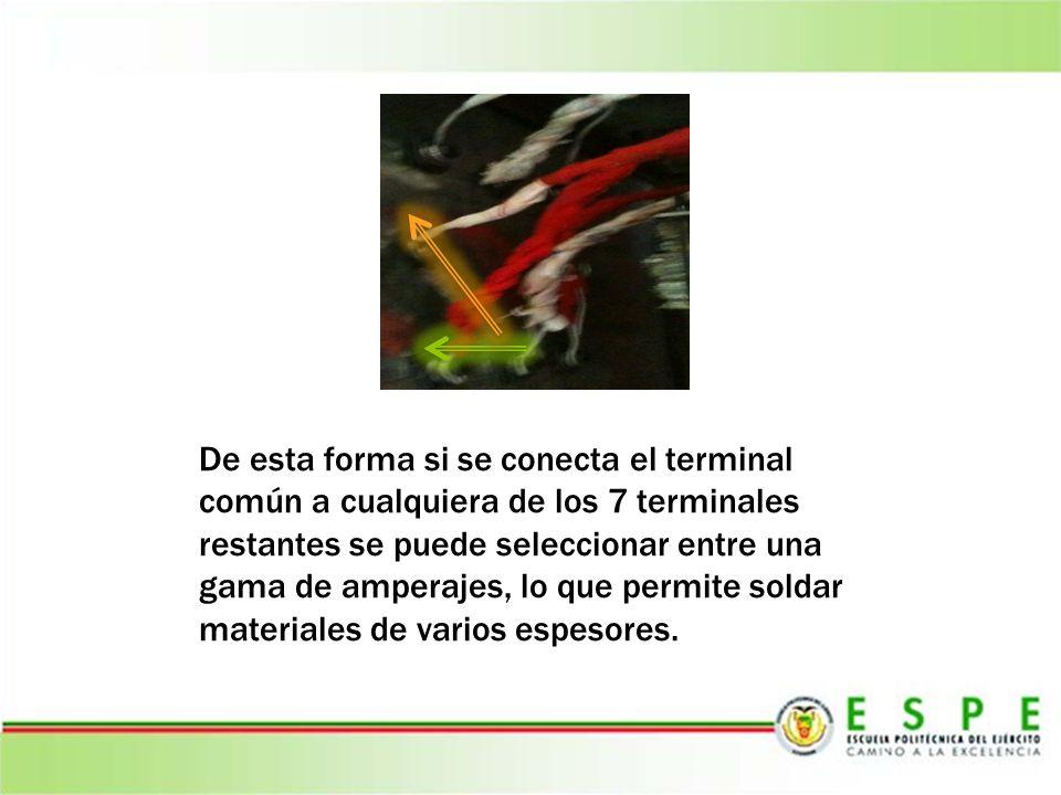De esta forma si se conecta el terminal común a cualquiera de los 7 terminales restantes se puede seleccionar entre una gama de amperajes, lo que permite soldar materiales de varios espesores.