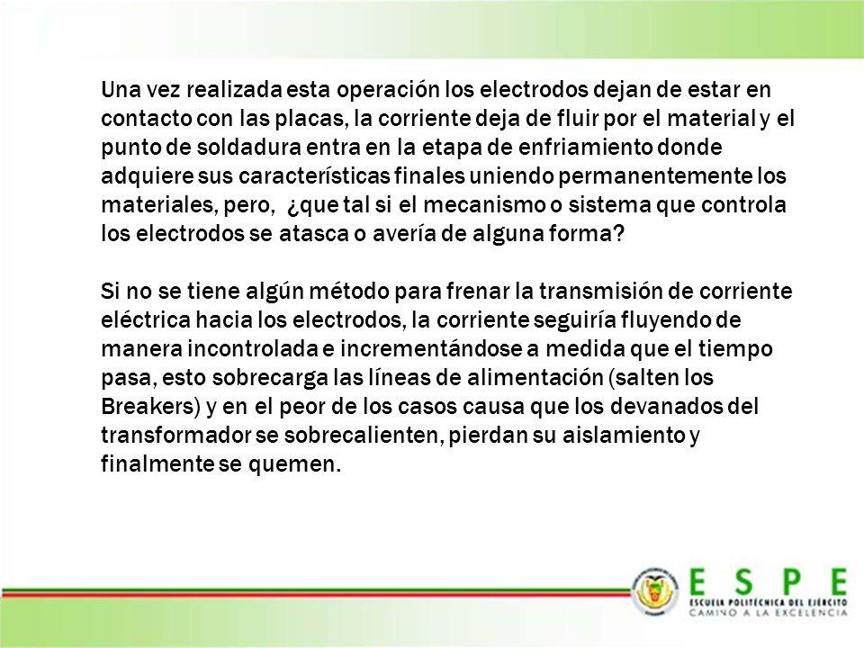 Una vez realizada esta operación los electrodos dejan de estar en contacto con las placas, la corriente deja de fluir por el material y el punto de soldadura entra en la etapa de enfriamiento donde adquiere sus características finales uniendo permanentemente los materiales, pero, ¿que tal si el mecanismo o sistema que controla los electrodos se atasca o avería de alguna forma