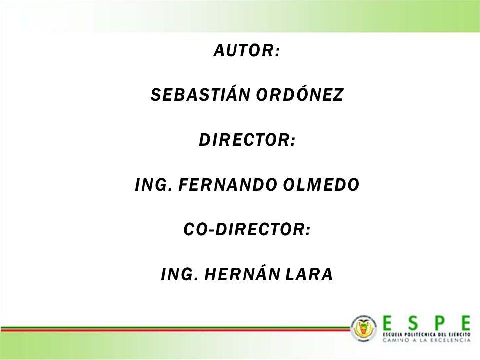AUTOR: SEBASTIÁN ORDÓNEZ DIRECTOR: ING