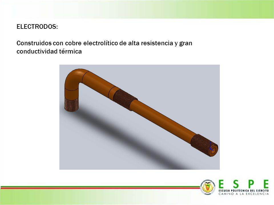 ELECTRODOS: Construidos con cobre electrolítico de alta resistencia y gran conductividad térmica