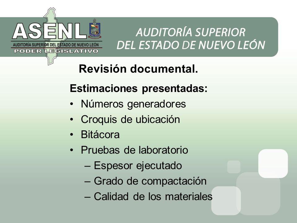 Revisión documental. Estimaciones presentadas: Números generadores
