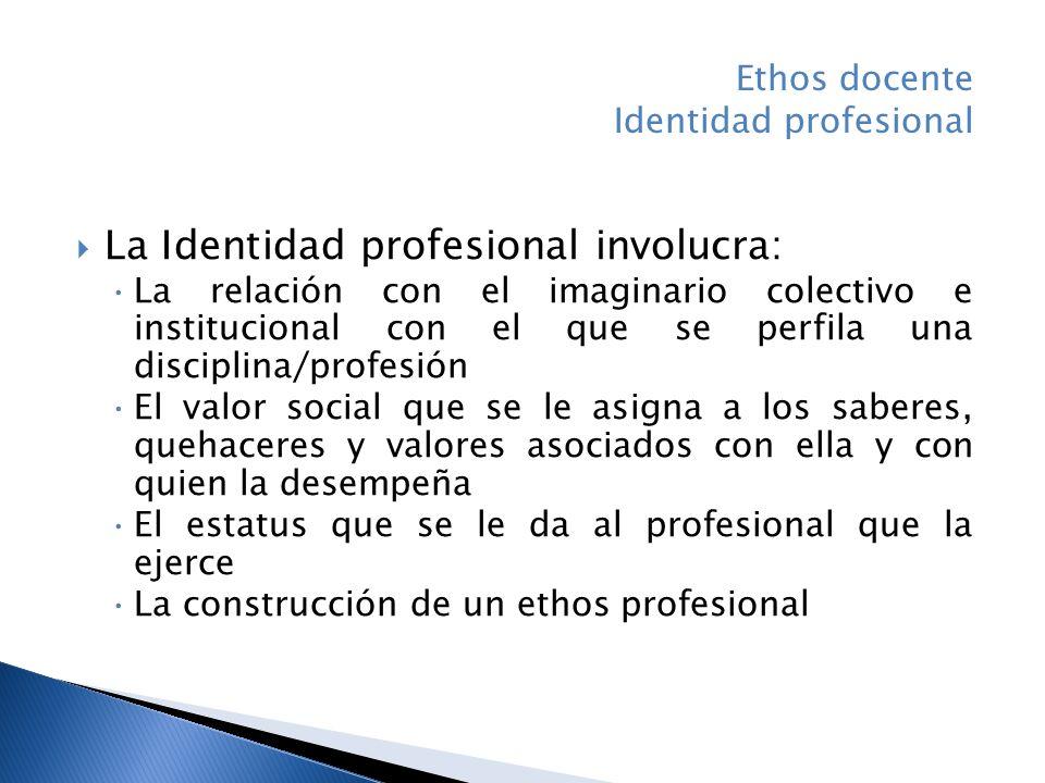 La Identidad profesional involucra:
