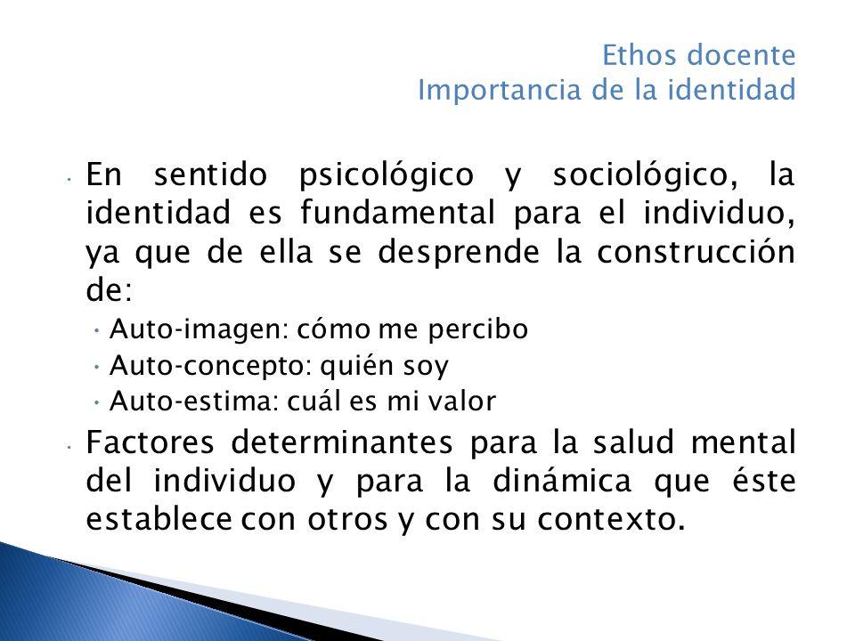 Ethos docente Importancia de la identidad