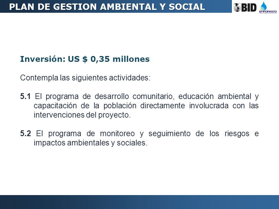 PLAN DE GESTION AMBIENTAL Y SOCIAL