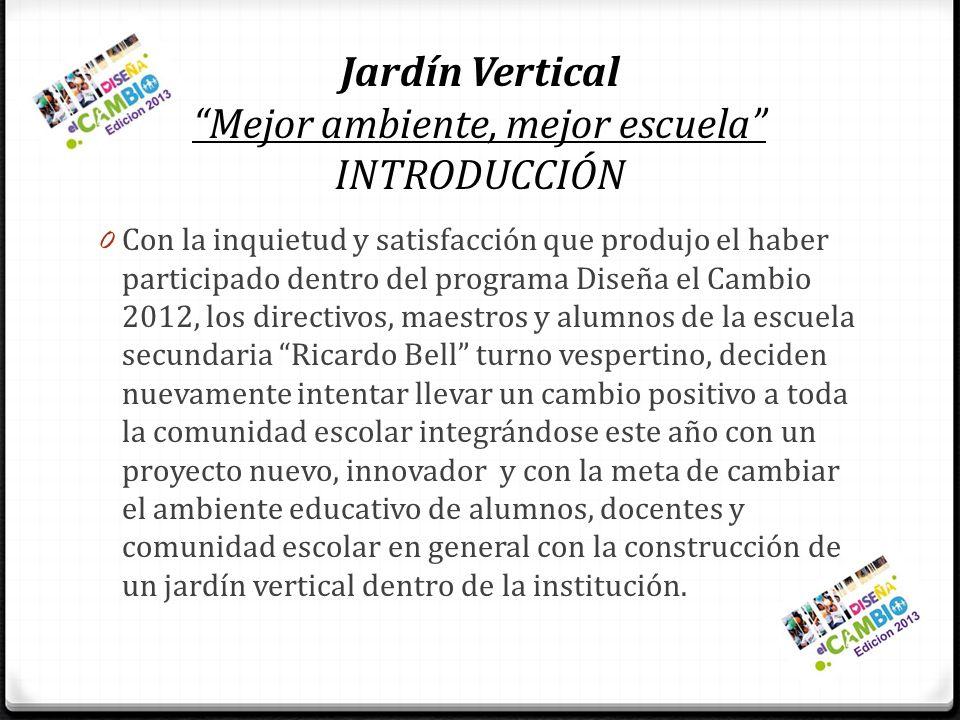 Jardín Vertical Mejor ambiente, mejor escuela INTRODUCCIÓN