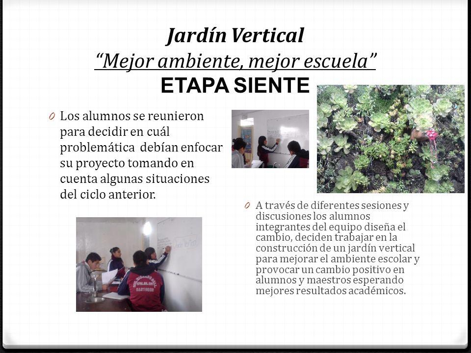 Jardín Vertical Mejor ambiente, mejor escuela ETAPA SIENTE