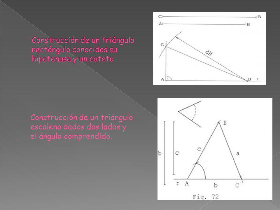 Construcción de un triángulo rectángulo conocidos su hipotenusa y un cateto