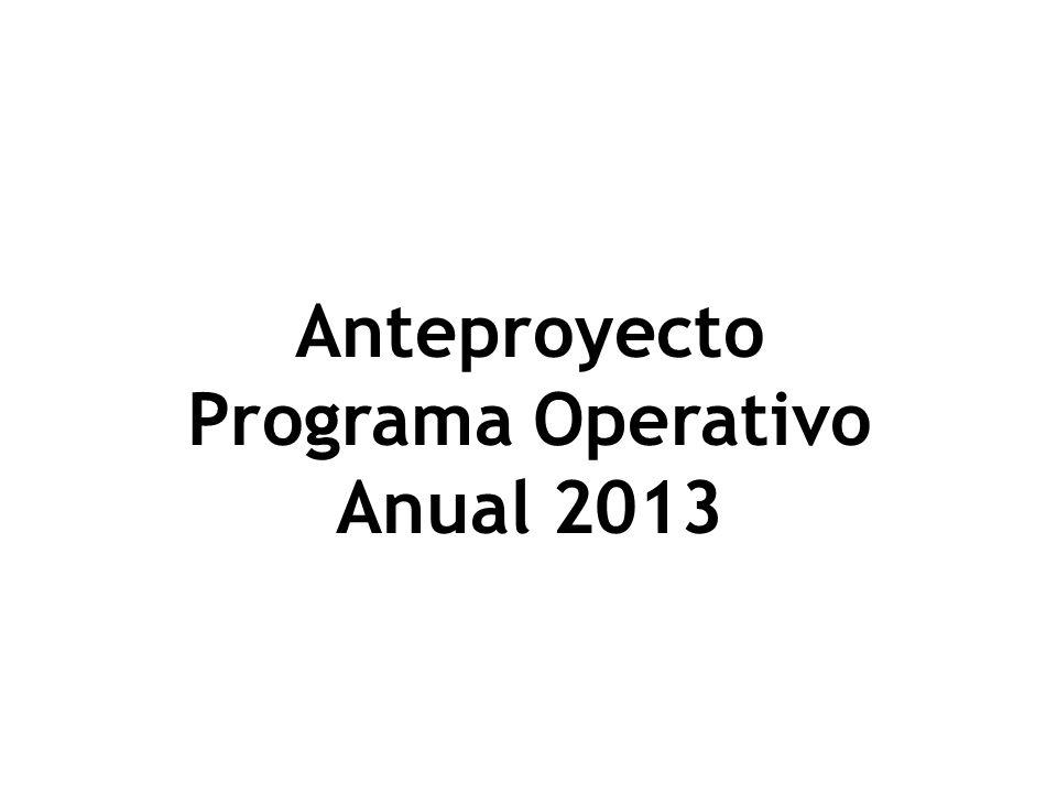 Anteproyecto Programa Operativo Anual 2013
