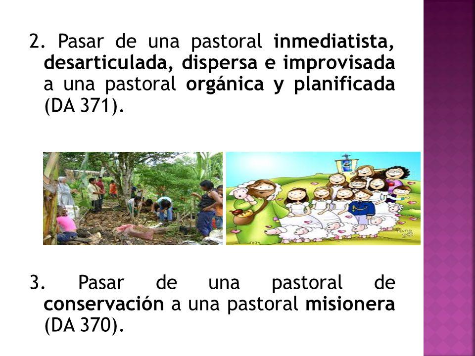 2. Pasar de una pastoral inmediatista, desarticulada, dispersa e improvisada a una pastoral orgánica y planificada (DA 371).