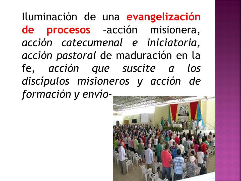 Iluminación de una evangelización de procesos –acción misionera, acción catecumenal e iniciatoria, acción pastoral de maduración en la fe, acción que suscite a los discípulos misioneros y acción de formación y envío-