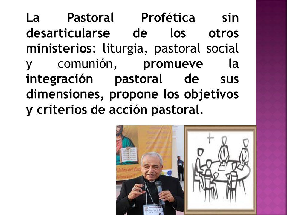 La Pastoral Profética sin desarticularse de los otros ministerios: liturgia, pastoral social y comunión, promueve la integración pastoral de sus dimensiones, propone los objetivos y criterios de acción pastoral.