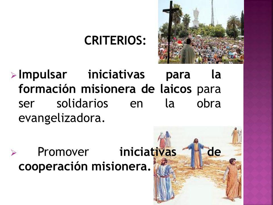 CRITERIOS: Impulsar iniciativas para la formación misionera de laicos para ser solidarios en la obra evangelizadora.