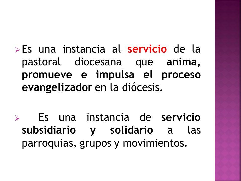 Es una instancia al servicio de la pastoral diocesana que anima, promueve e impulsa el proceso evangelizador en la diócesis.