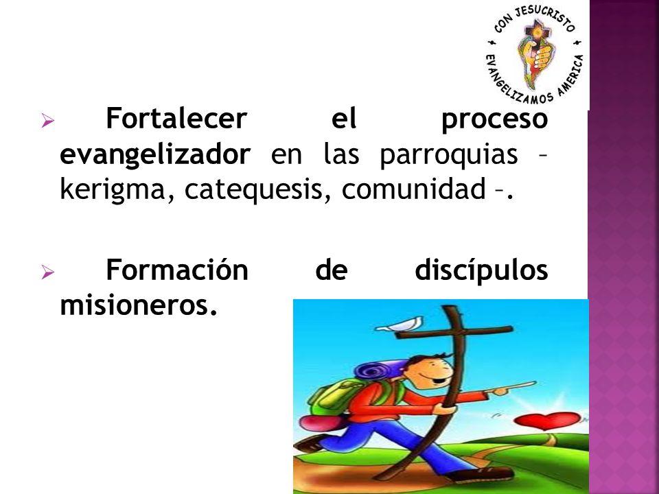Fortalecer el proceso evangelizador en las parroquias – kerigma, catequesis, comunidad –.