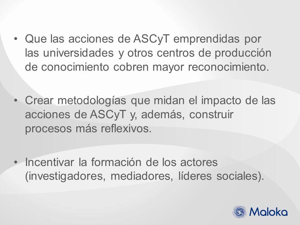 Que las acciones de ASCyT emprendidas por las universidades y otros centros de producción de conocimiento cobren mayor reconocimiento.