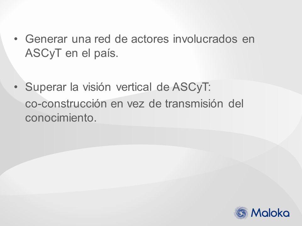 Generar una red de actores involucrados en ASCyT en el país.