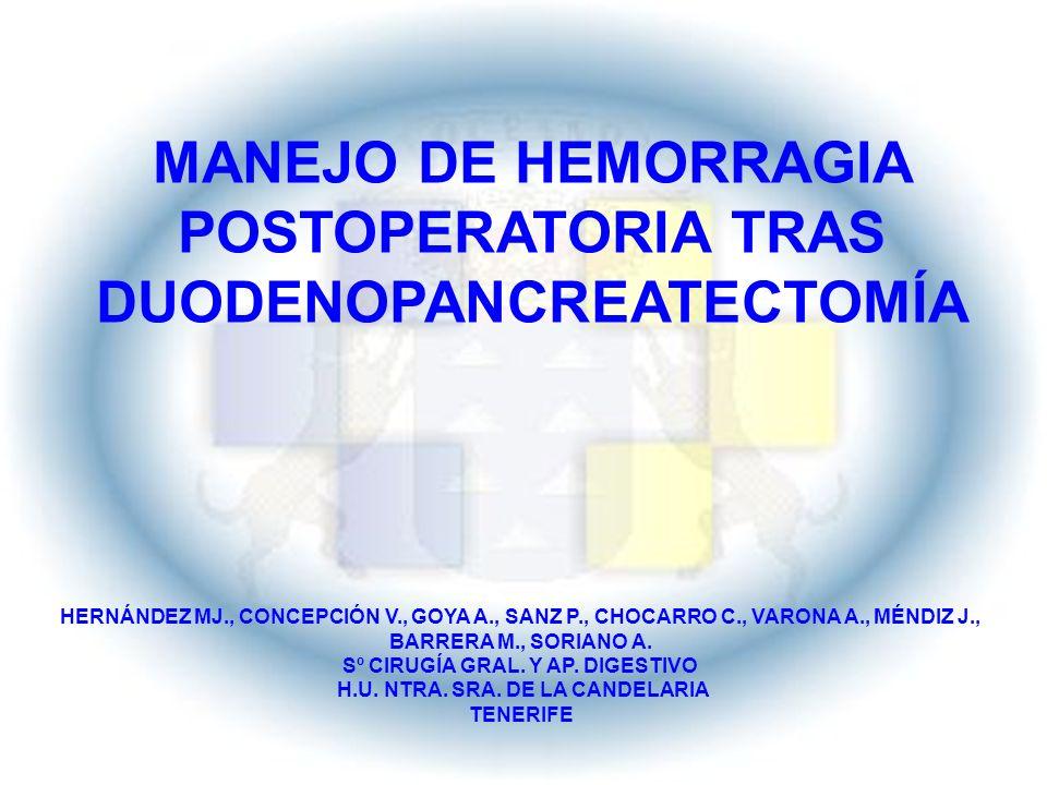 MANEJO DE HEMORRAGIA POSTOPERATORIA TRAS DUODENOPANCREATECTOMÍA
