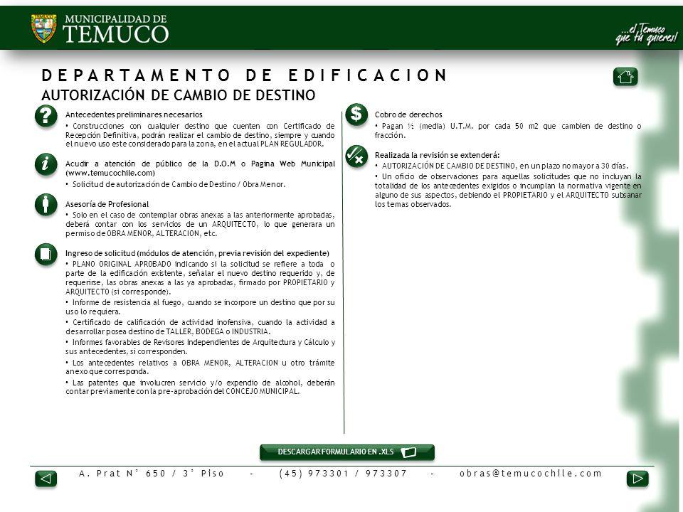 DEPARTAMENTO DE EDIFICACION AUTORIZACIÓN DE CAMBIO DE DESTINO