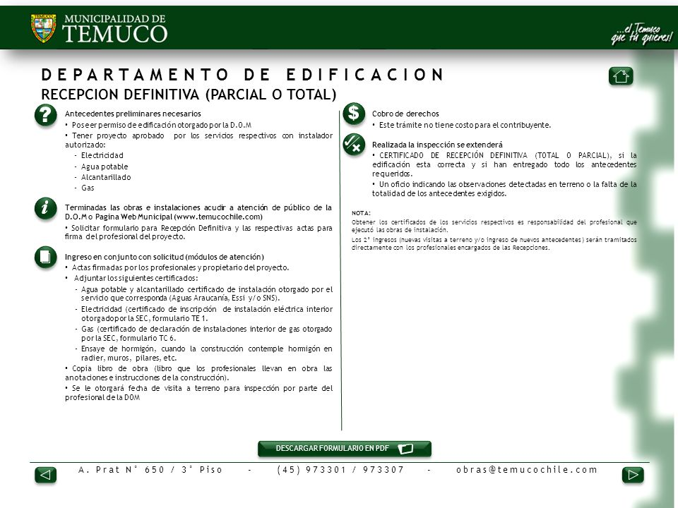 DEPARTAMENTO DE EDIFICACION RECEPCION DEFINITIVA (PARCIAL O TOTAL)