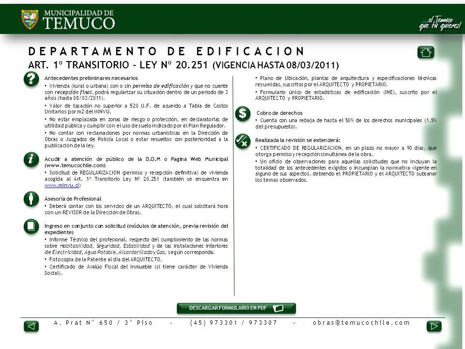 DEPARTAMENTO DE EDIFICACION ART. 1º TRANSITORIO - LEY Nº 20