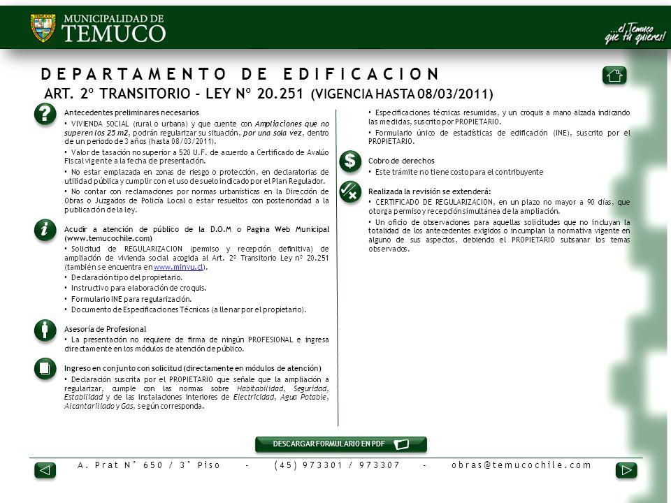 DEPARTAMENTO DE EDIFICACION ART. 2º TRANSITORIO - LEY Nº 20