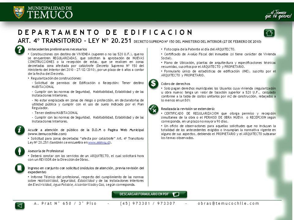 DEPARTAMENTO DE EDIFICACION ART. 4º TRANSITORIO - LEY Nº 20