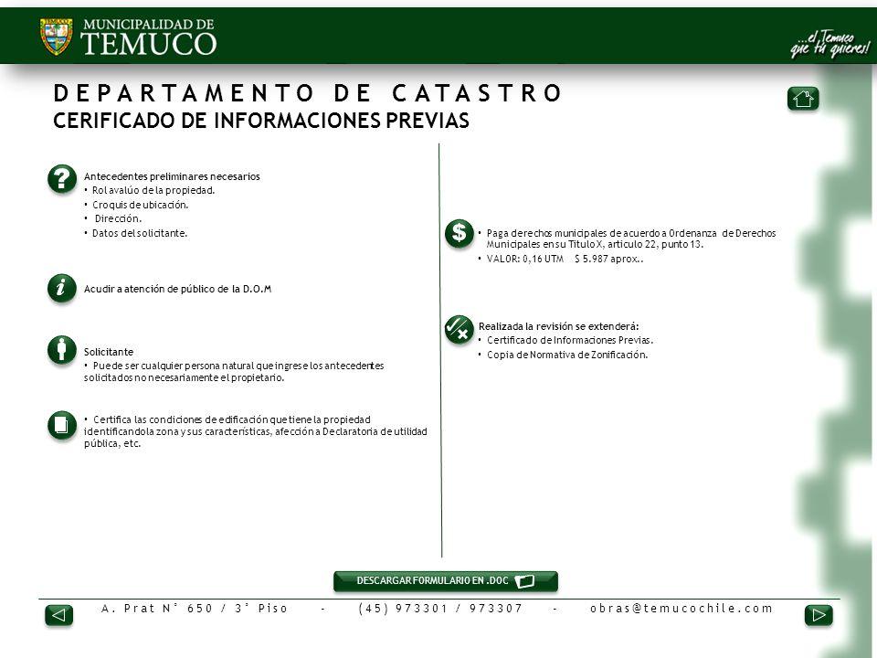 DEPARTAMENTO DE CATASTRO CERIFICADO DE INFORMACIONES PREVIAS