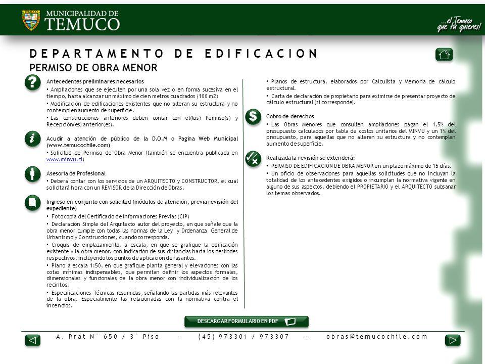 DEPARTAMENTO DE EDIFICACION PERMISO DE OBRA MENOR