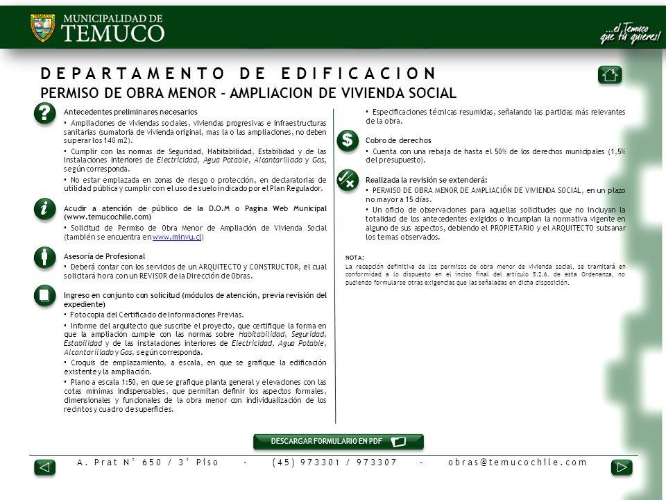 DEPARTAMENTO DE EDIFICACION PERMISO DE OBRA MENOR - AMPLIACION DE VIVIENDA SOCIAL